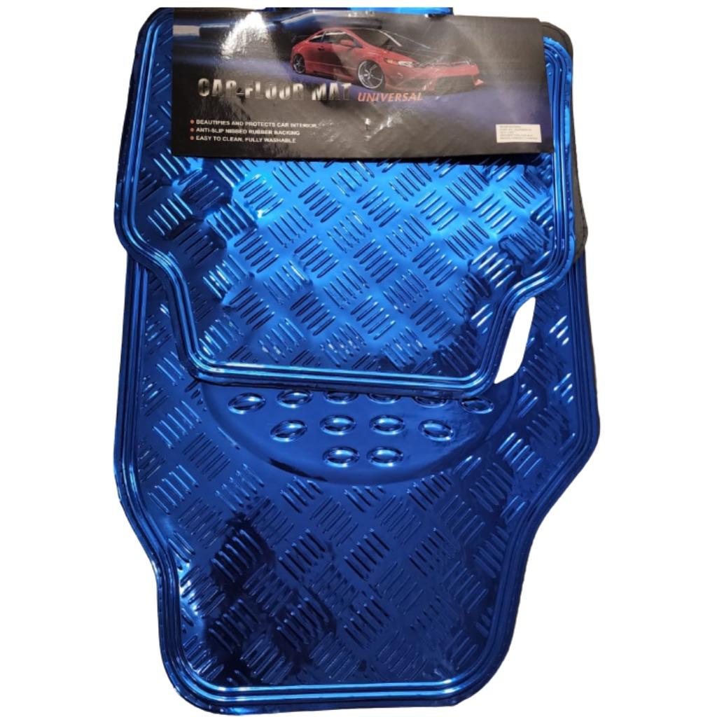 Cubre alfombra simil aluminio 4 pcs. azul