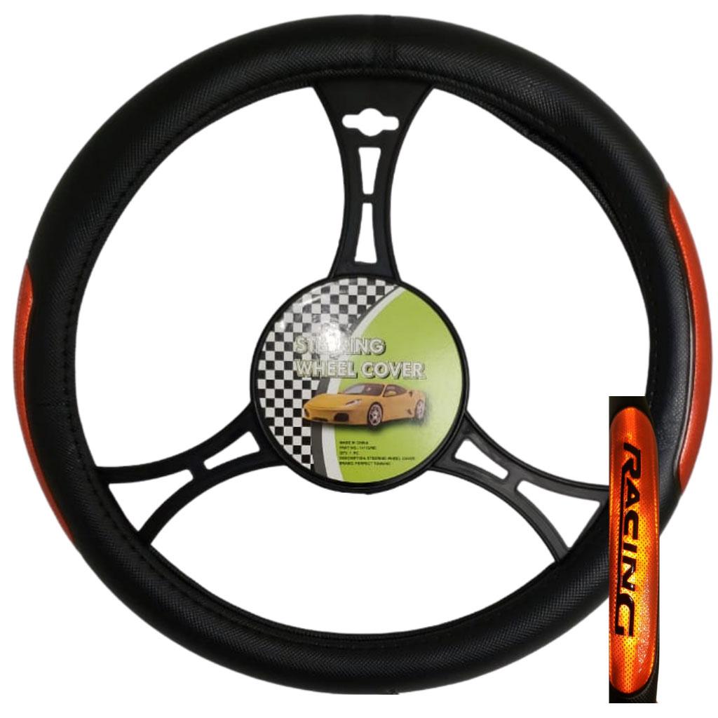 Cubre volante ac racing negro reflectivo rojo