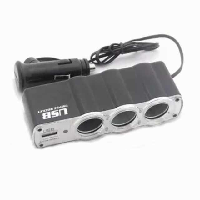 Adaptador encendedor a triple encendedor + 1 usb