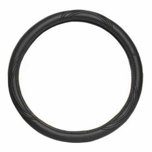 Cubre volante cuero negro liso 42 cm.