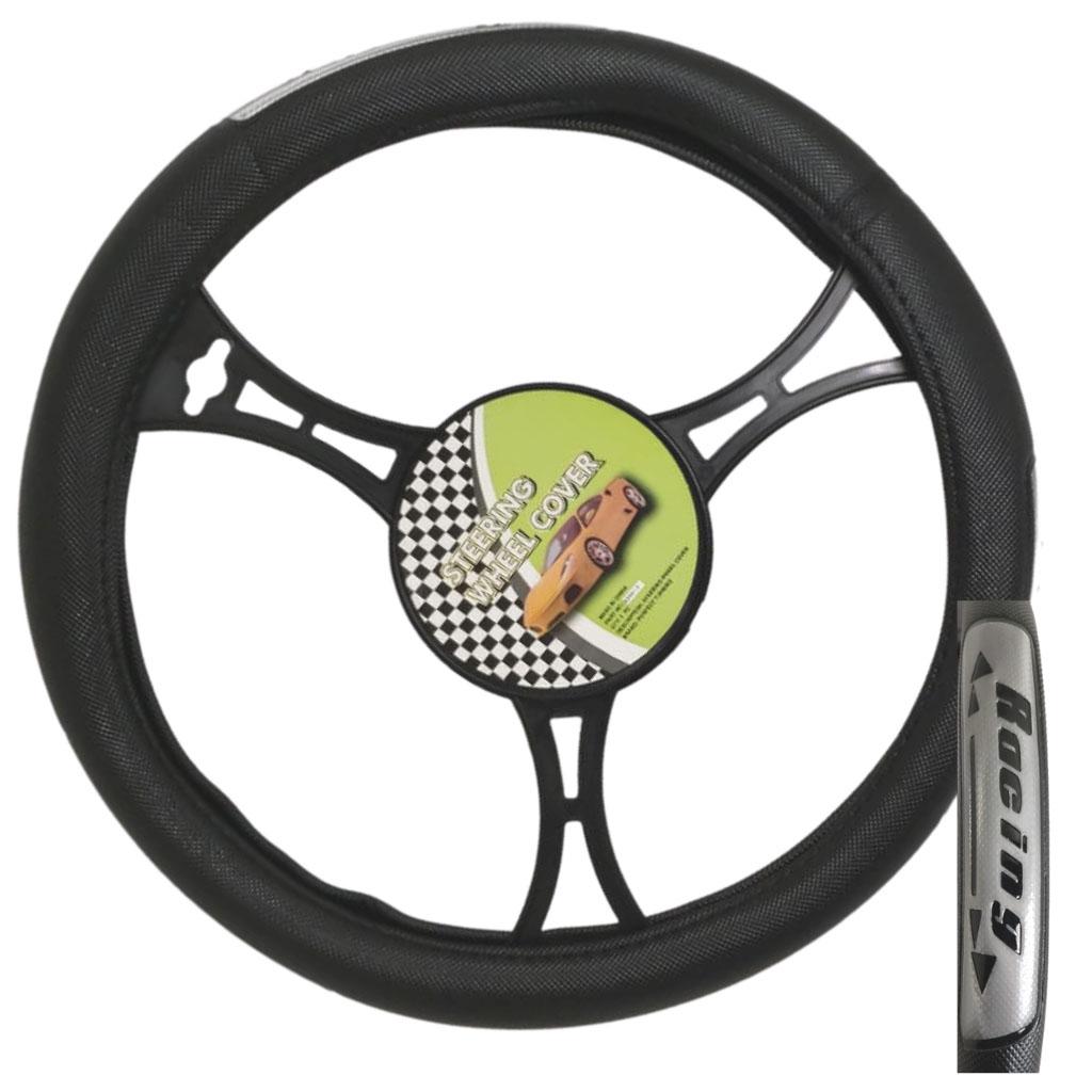 Cubre volante ac racing flecha negro reflectivo gris