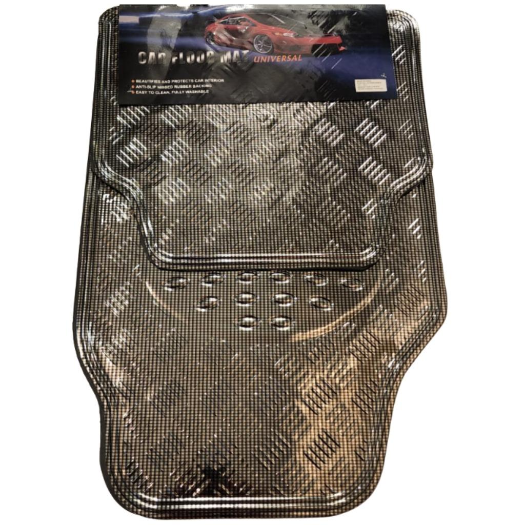 Cubre alfombra simil aluminio 4 pcs. carbono