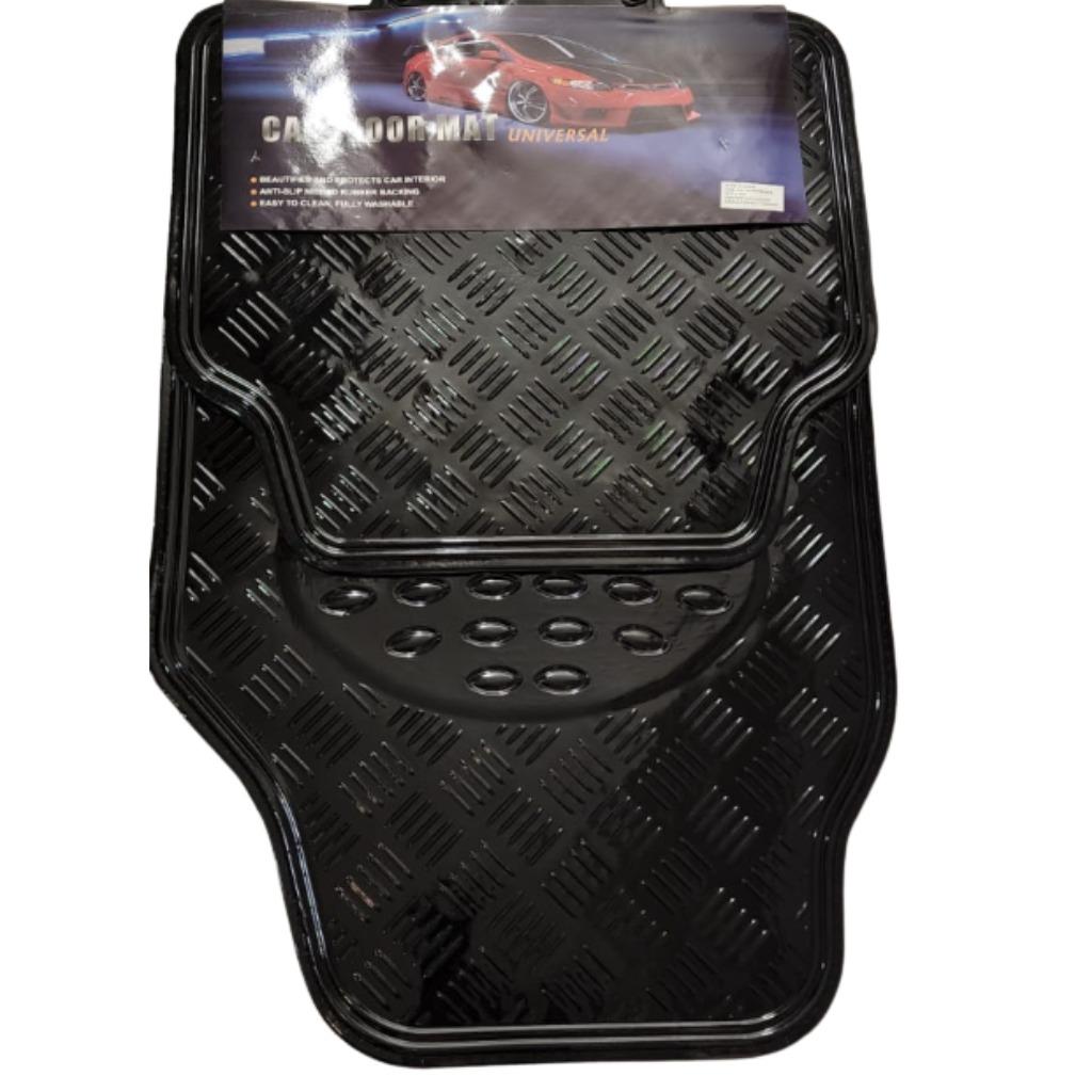 Cubre alfombra simil aluminio 4 pcs. negro
