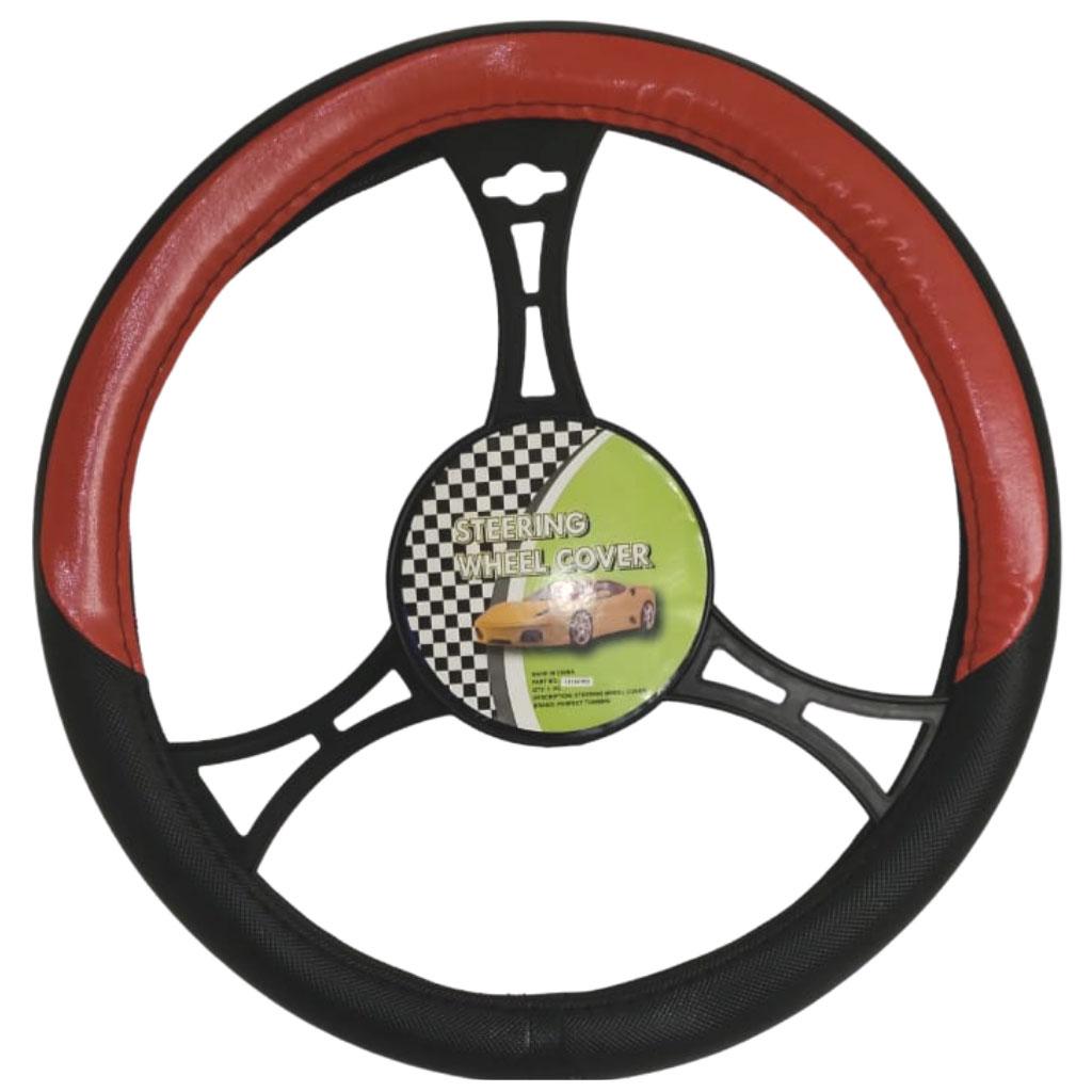 Cubre volante ac negro detalle rojo