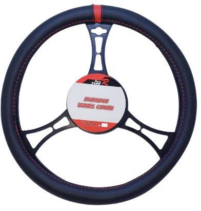 Cubre volante premium negro center rojo
