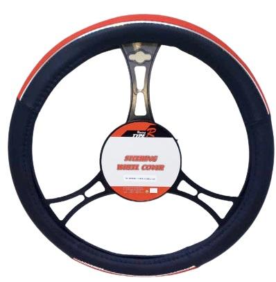 Cubre volante premium negro lineas cromo con rojo