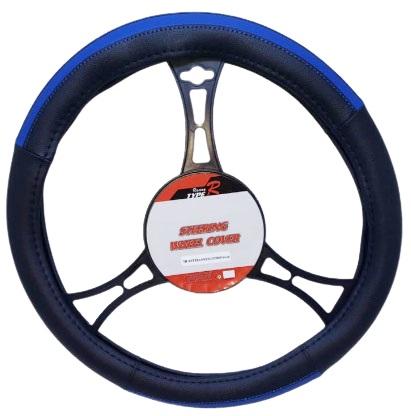 Cubre volantes premium negro linea azul