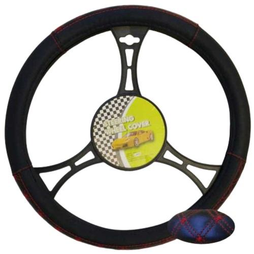 Cubre volante moderno negro costura cuadros rojos