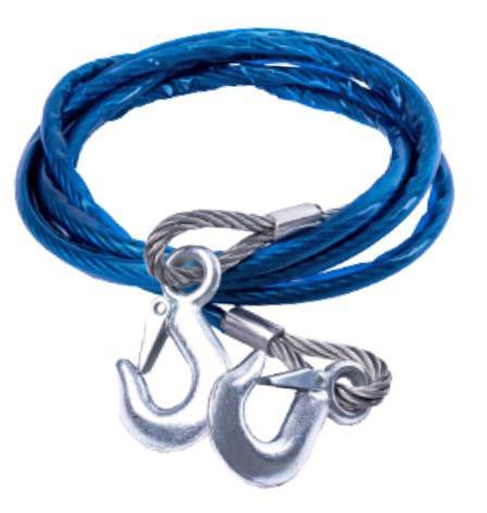 Cable de acero de remolque forrado 8mm 4mts c-ganchos d014